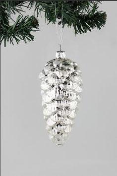 Großer Glas-Zapfen Silber verspiegelt