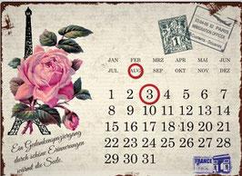 """Metallschild Kalender """"Paris Rose"""""""