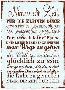 """Metallschild """"Nimm die Zeit..."""""""