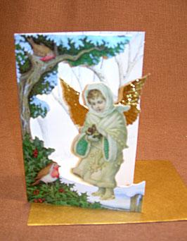 Weihnachtskarte Engel mit Vogel