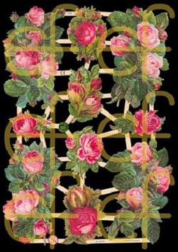 Glanzbilder-Bogen rosa Rosen Jugendtraum