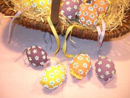 Hühner-Eier mit Glitzerblümchen