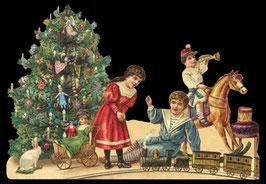 Klapp-Karte mit Aufstellbild Am Weihnachtsbaum