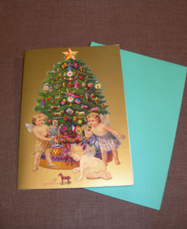 3D-Weihnachtskarte Engel am Weihnachtsbaum
