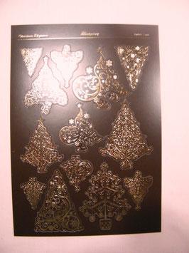 Stanzbogen Weihnachtsbäume, braun/gold