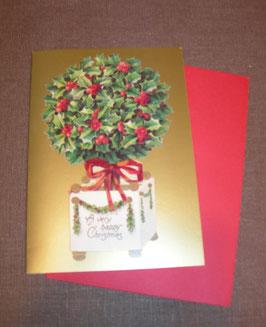 """3D-Weihnachtskarte Ilex """"Happy Christmas"""""""