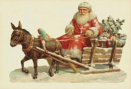 Klapp-Karte mit Aufstellbild Weihnachtsmann mit Esel