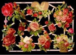 Glanzbilder-Bogen Rosen u. Herz