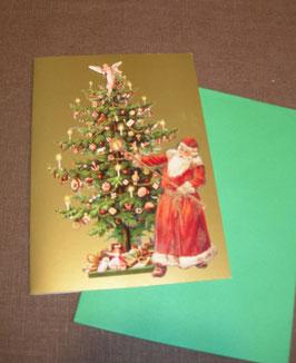 3D-Weihnachtskarte Santa am Weihnachtsbaum