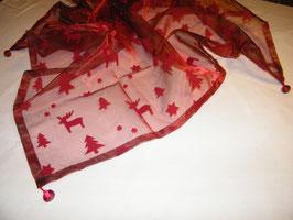 Zarte Organza-Decke mit Rentieren, rot