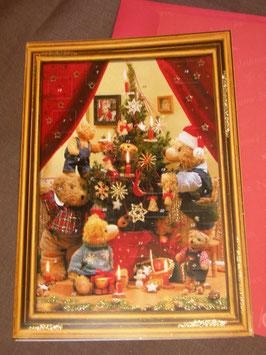 "Große Adventkalender-Karte ""Teddys"""
