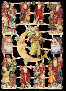 Glanzbilder-Bogen Nikolaus mit Mond