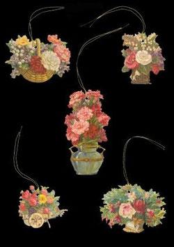 Geschenkanhänger Glanz-Reliefbilder Blumen