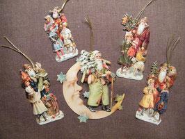 Geschenkanhänger Glanz-Reliefbilder Nikoläuse mit Mond