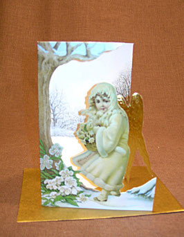 Weihnachtskarte Engel mit Christrosen