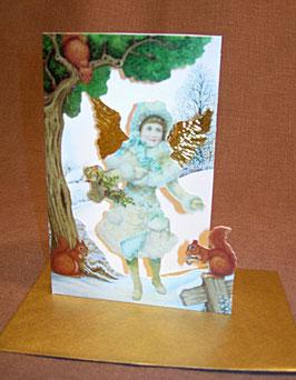 Weihnachtskarte Engel mit Ilex