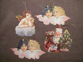 Geschenkanhänger Glanz-Reliefbilder Engel und Nikolaus