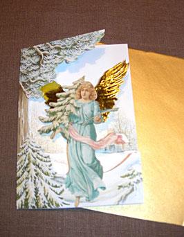 Weihnachtskarte Engel mit Baum