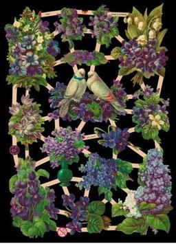 Glanzbilder-Bogen Blaue Blumen