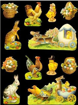 Glanz-Reliefbilder Hühner und Hasen