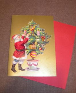 3D-Weihnachtskarte Santa schmückt den Baum