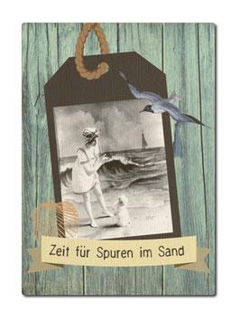 """Postkarte aus Holz """"Zeit für Spuren im Sand"""""""