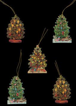 Geschenkanhänger Glanz-Reliefbilder Weihnachtsbäume