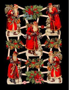 Glanzbilder-Bogen Nikolaus und Ilexzweige
