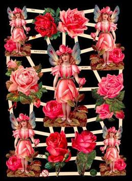 Glanzbilder-Bogen Rosen und Elfen