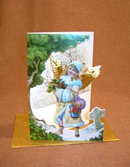 Weihnachtskarte Engel mit Geschenken