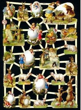 Glanzbilder-Bogen Hasen, Kinder und Eier