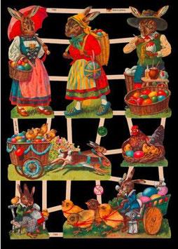 Glanzbilder-Bogen Osterhasen