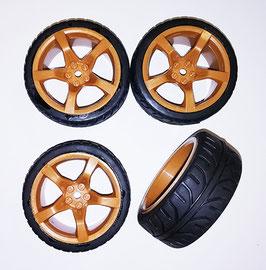 1/10 On road 5 spoke tire set brown (4 pcs) KT634633BR