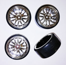 1/10 drift 14 spoke tire set silver (4 pcs) COD: 637090S