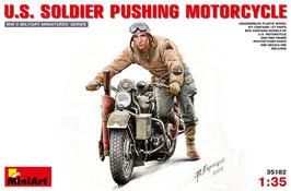 U.S.  SOLDIER PUSHING MOTORCYCLE COD: 35182
