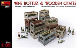 WINE BOTTLES & WOODEN CRATES COD:35571