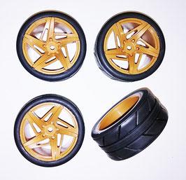 1/10 On road 5 spoke tire set brown (4 pcs) COD: KT634800BR