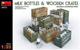 MILK BOTTLES & WOODEN CRATES COD: 35573