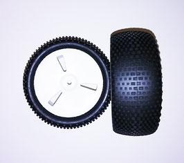 1/10 Buggy 3 spoke front tire set white (2 pcs) COD: KT644029WF