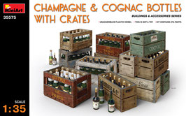 CHAMPAGNE & COGNAC BOTTLES w/CRATES COD:MA35575