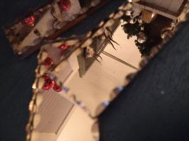 Set van 12 prachtig geslepen messenleggers in doos, van brons spiegelglas