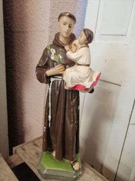 Mooi brocante beeld van de heilige anthonius, gemaakt van gips. Hoogte 32 cm