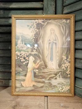 Mooie brocante ingelijste Lourdes prent, afmetingen 43 x 33 cm