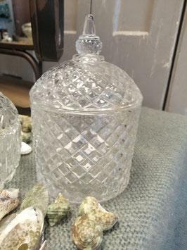 Mooie glazen pot met deksel, in harlequin motief, afmetingen 14 x 10 cm, prijs per stuk