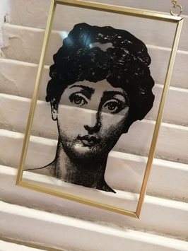 Superleuke glashanger met portret, in gouden lijst. Leuk aan de muur, maar ook voor het raam