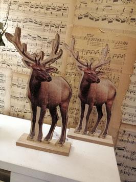 Leuke houten herten, mooi op je vensterbank en kast, hoogte 25 cm, prijs per stuk