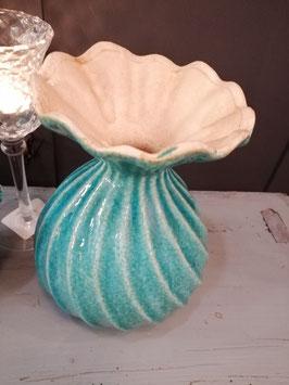 Mooie turquoise bolvaas van aardewerk, afmetingen 20 x 15 cm, prijs per stuk