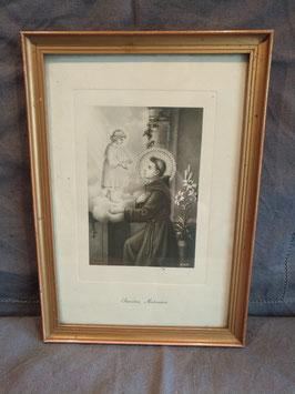 Mooie brocante ingelijste prent van Sint Anthonius, afmeting 25 x 17,5 cm