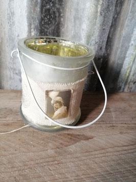 Romantische waxinelichthouder. Afmetingen 10 x 8 cm, prijs per stuk