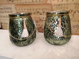 Mooie windlichtjes van groen zilverglas, afmetingen zonder hengsel 10 x 9 cm, prijs per stuk